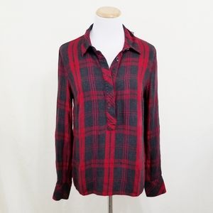 Cabi 3587 Cunningham shirt plaid red gray henley S
